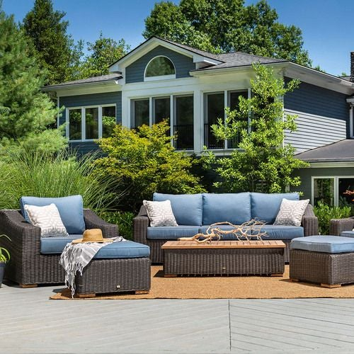 New Boston 6 Piece Wicker Patio Set: Sofa, Two Lounge Chairs, Two Ottomans and Coffee Table (Denim Bleu)