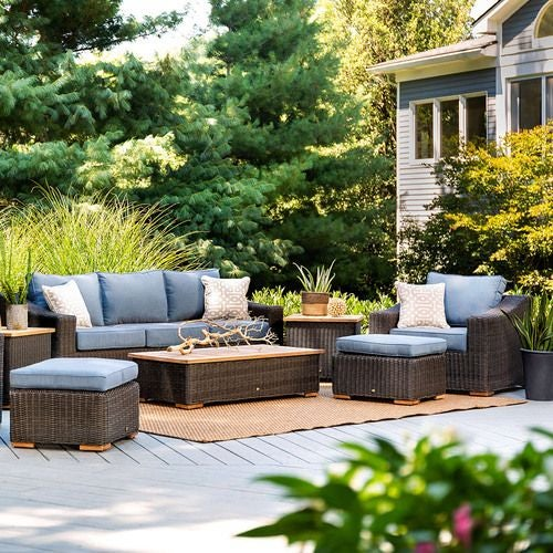 New Boston 8 Piece Wicker Patio Set: Sofa, Two Lounge Chairs, Two Ottomans, Coffee Table and Two Side Tables (Denim Bleu)