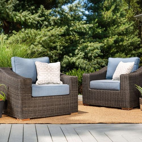 New Boston Wicker Patio Lounge Chairs (Denim Azul, 2 Pack)
