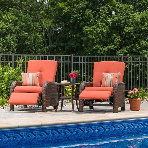 Sawyer 3pc Recliner Seating (2 recliners and side table) - Grenadine Orange