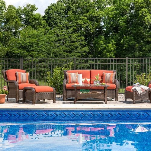 Sawyer 6 Piece Resin Wicker Patio Furniture Conversation Set (Grenadine Orange)