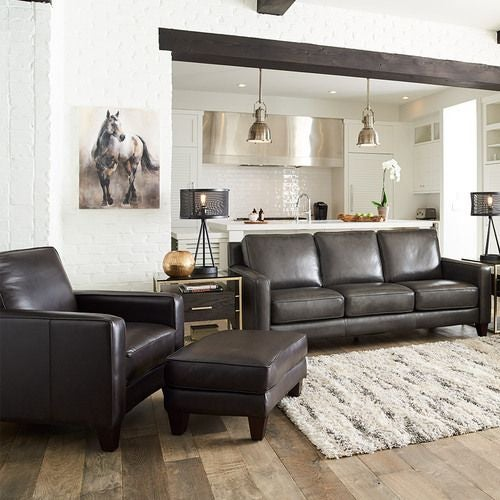 Archer Signature Leather Ottoman