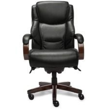 Delano Big & Tall Executive Office Chair, Black with Mahogany Wood