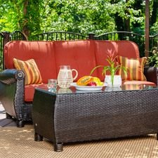 Breckenridge Outdoor Sofa with Pillows and Coffee Table Set w/ Brick Red Cushion