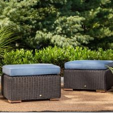 New Boston Outdoor Patio Ottomans w/ Blue Cushion