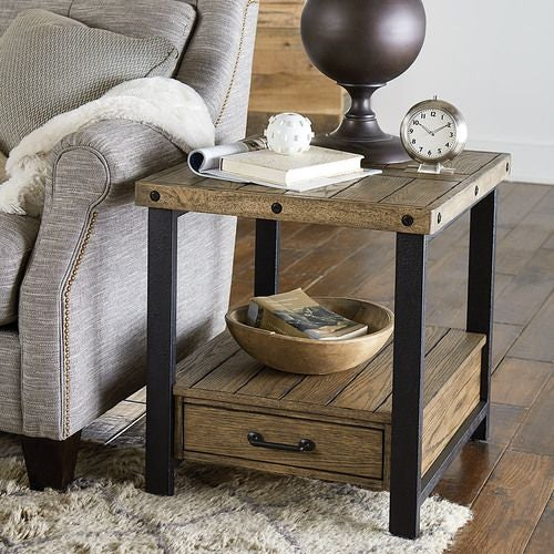 Workbench Rectangular Drawer End Table