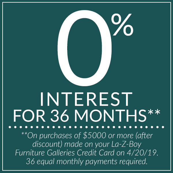 0% interest for 36 months. See store for details.