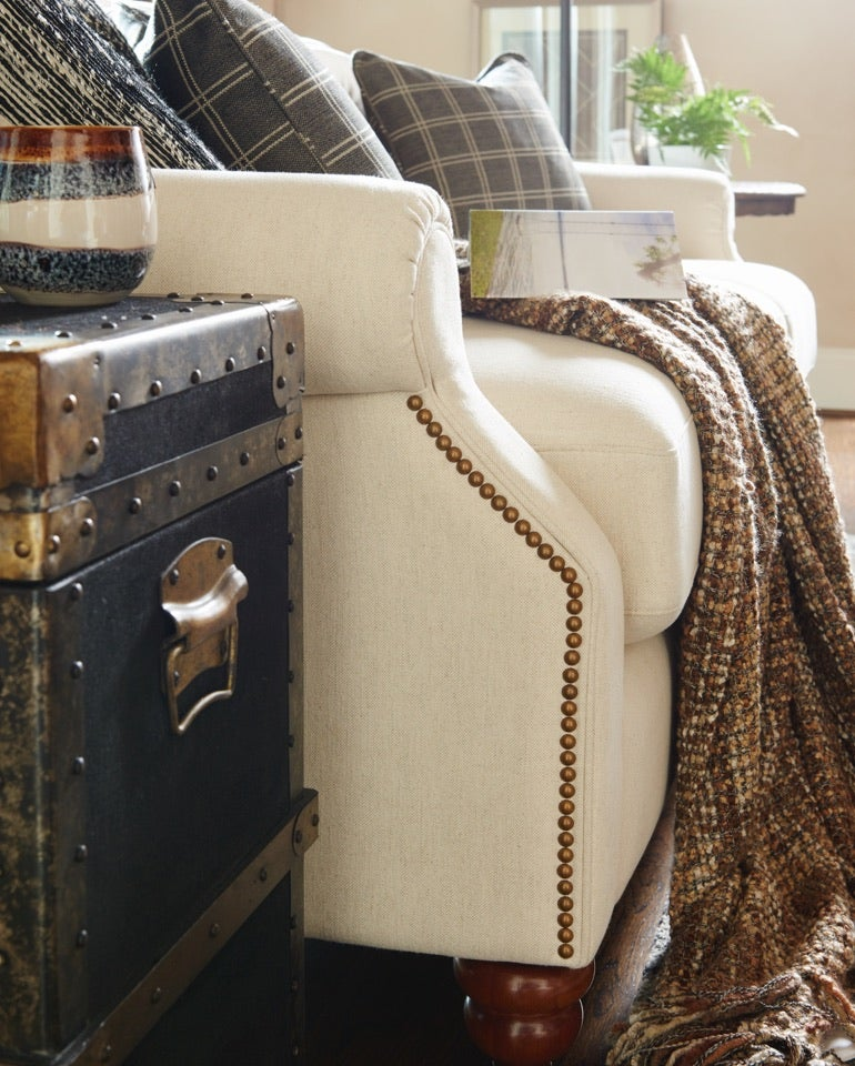 Closeup of Aberdeen sofa and accessories