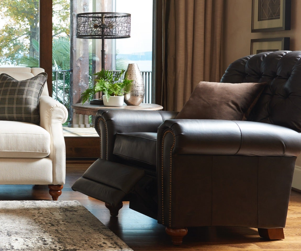 Room scene with Aberdeen sofa, Whitman Low Leg Recliner and accessories