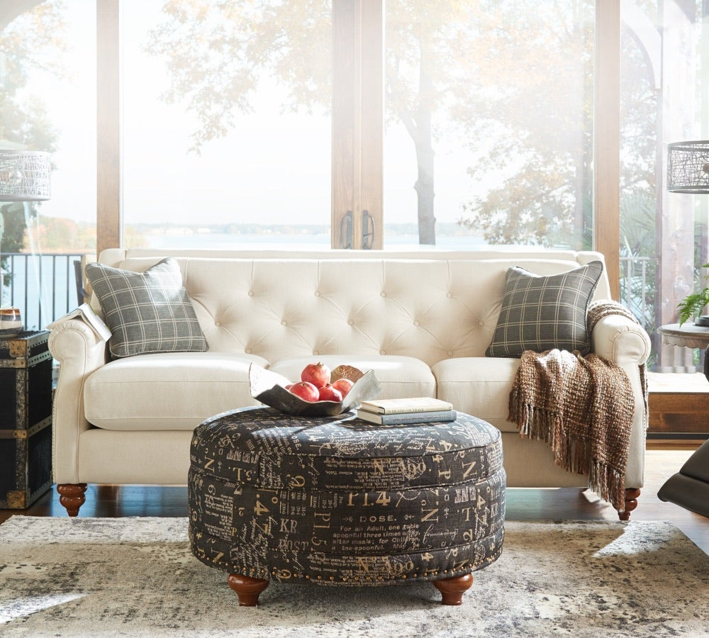 Classics Revisited  room scene with Aberdeen Sofa , Whitman Low Leg Reclining Chair, Coronet-premier-ottoman and accessories