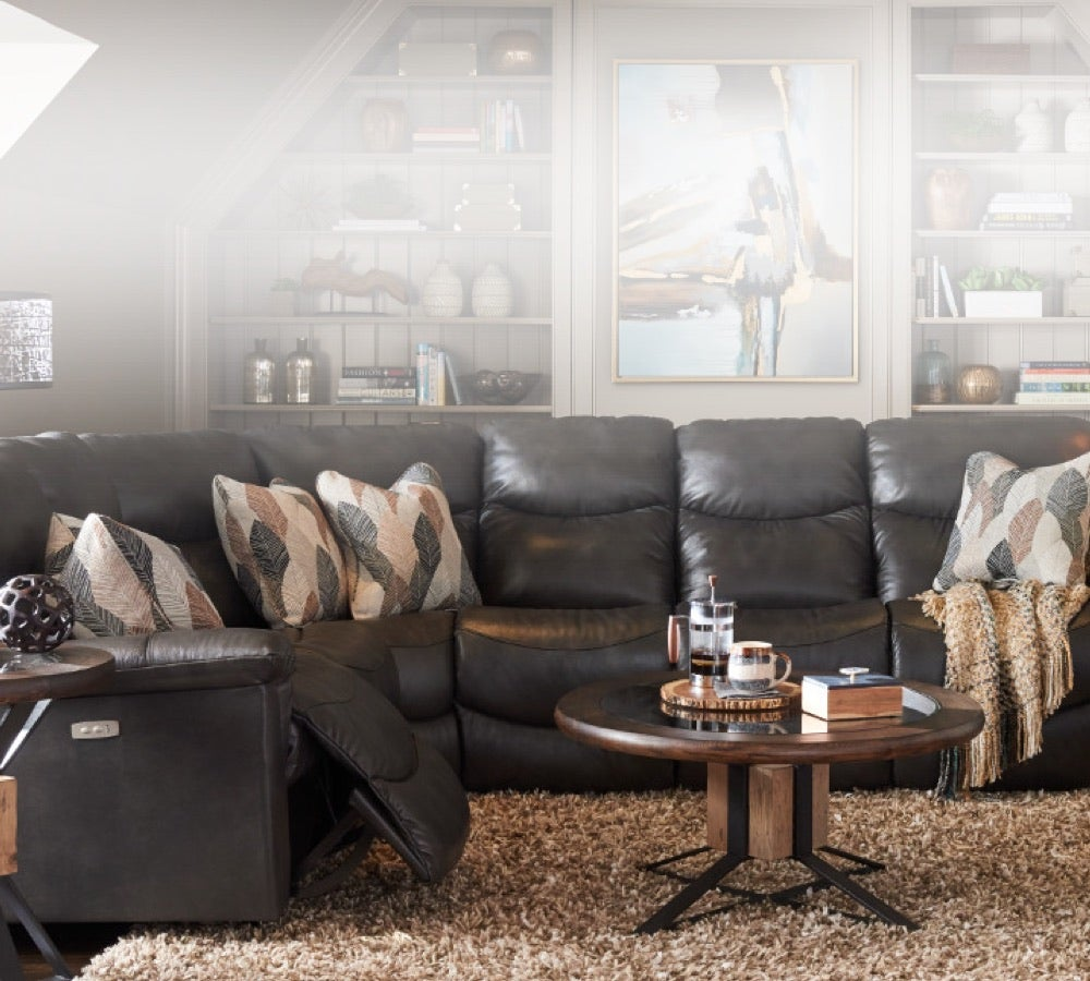Family Favorite  room scene with James Power Reclining Sofa , James Power Rocking Recliner, Junction Compass End Table and accessories