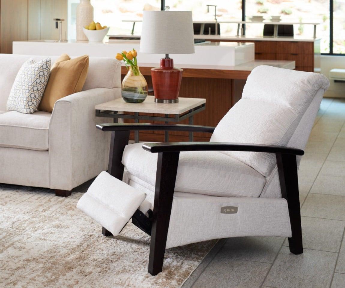 Room scene with Dixie Sofa, Nouveau Power Reclining Chair and accessories