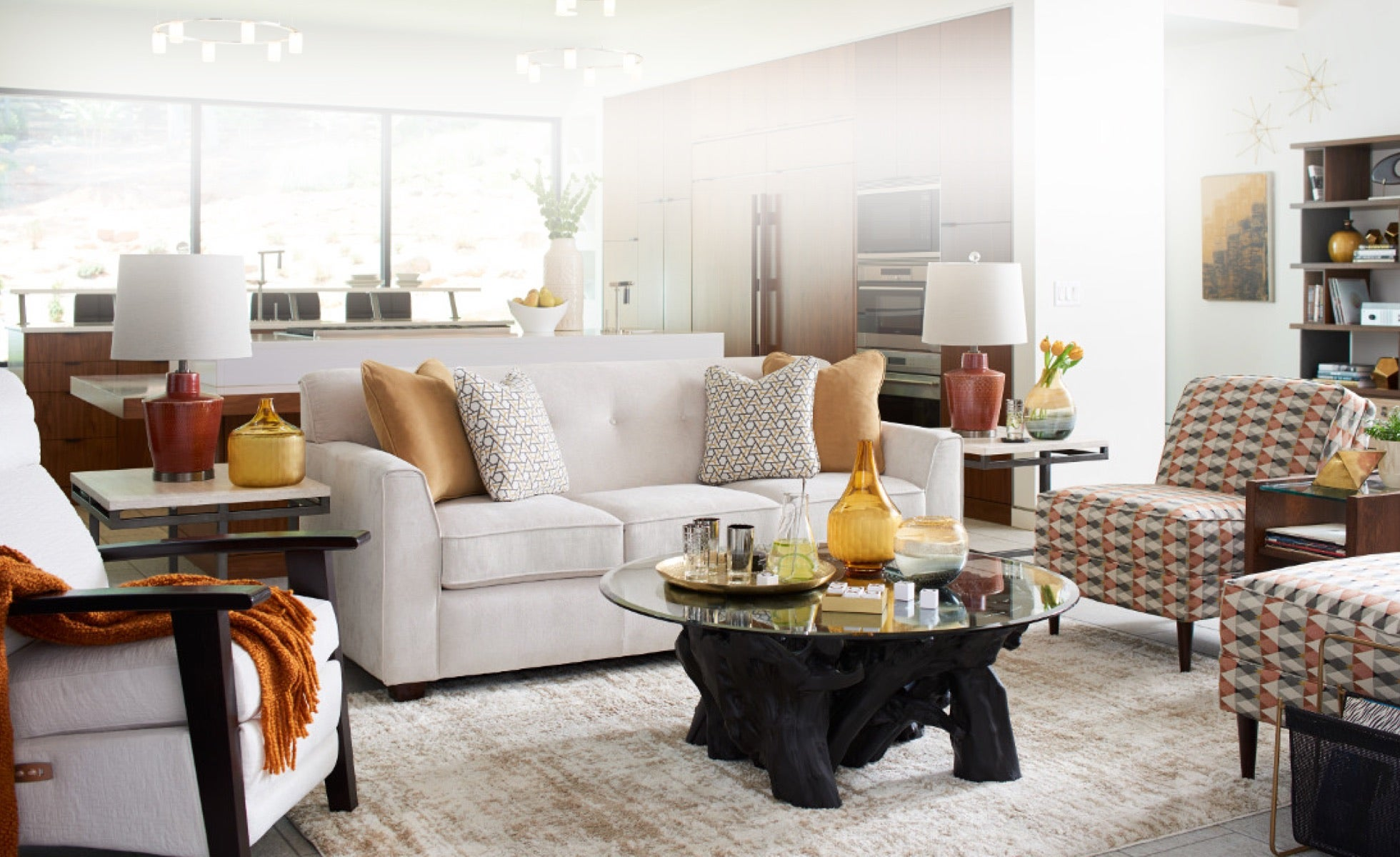 Modern Retreat room scene with Dixie Sofa , Eve Chair, Nouveau Power Reclining Chair and accessories