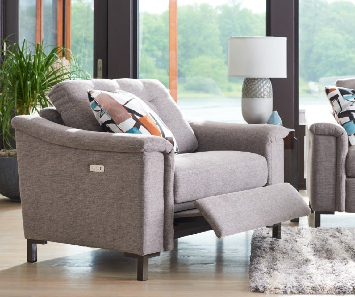 Modern Retreat Room scene with Luke Duo Reclining Chair and a half, Luke duo reclining 2 seat sofa, area rug and accessories